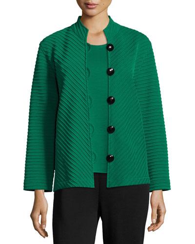 Wool Ottoman Easy Jacket, Emerald, Plus Size