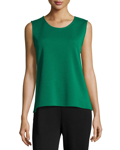 Sleeveless Wool Long Tank, Emerald, Plus Size