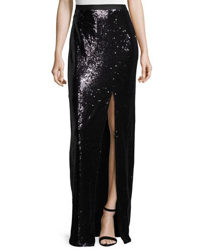 High-Waist Sequined Skirt, Black/Gunmetal