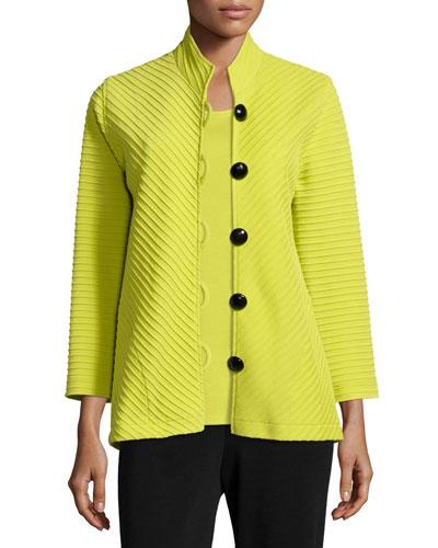 Wool Ottoman Easy Jacket, Emerald, Petite