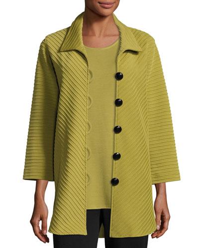 Ottoman Knit Wool Easy Shirt, Leaf