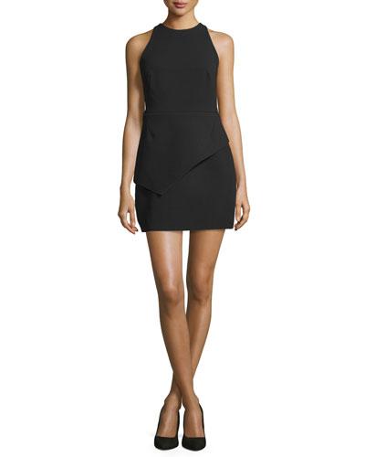 Jewel-Neck Peplum Tank Dress, Black