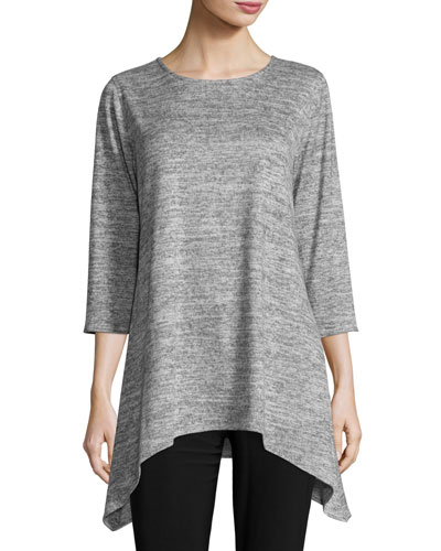 3/4-Sleeve Brushed Knit Sweater, Mist