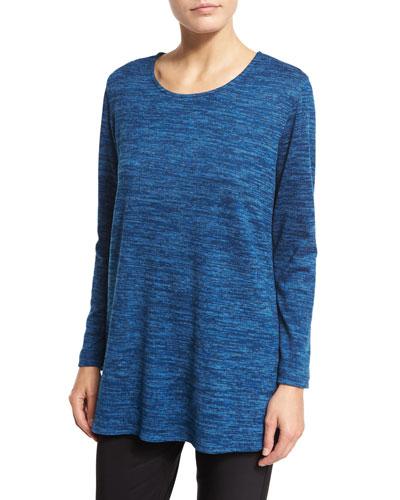 Brushed Knit Long-Sleeve Tunic, Blue Lagoon, Petite