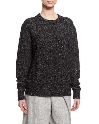 Fine Tweed Wool-Blend Pullover Sweater, Black