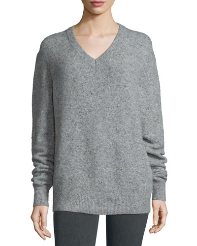 Fine Tweed V-Neck Pullover Sweater, Marble