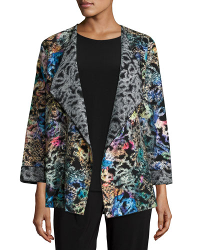 Easy-Fitting Fantasia Saturday Topper Jacket, Black/Multi, Plus Size