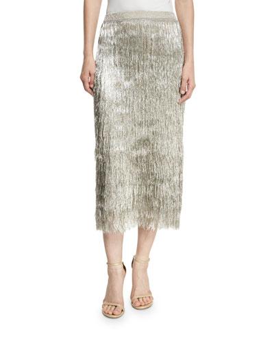 Delilah Metallic Fringe Midi Skirt