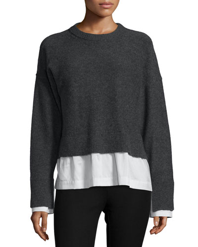 Wool-Blend Striped-Trim Illusion Sweater, Coal/White/Blue