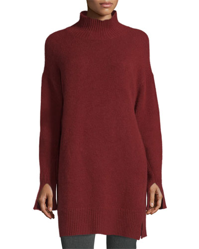 Cashmere Turtleneck Tunic, Oxblood