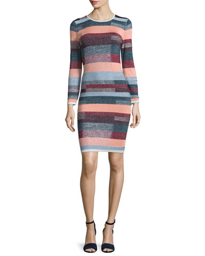 Lynn Metallic-Striped Knit Dress
