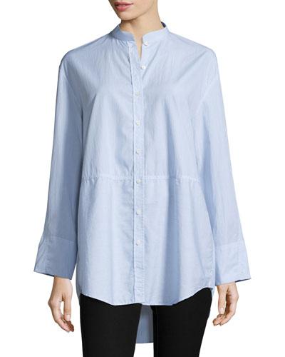 Lenny Long-Sleeve Pinstripe Poplin Shirt, Blue