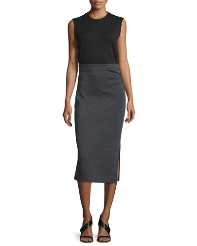 Ellis Sleeveless Jersey Dress, Black/Gray