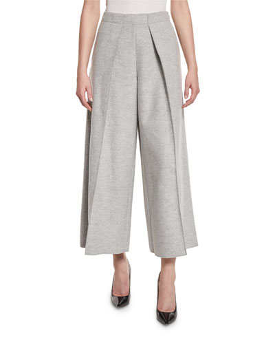 Nixie Pleated Cropped Wide-Leg Pants, Gray