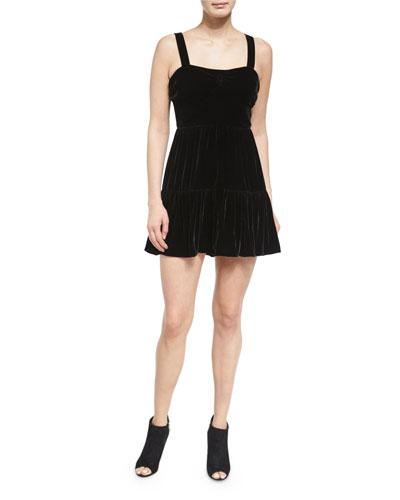 Sleeveless Smocked Velour Dress, Black