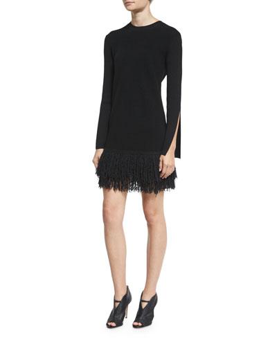 Slit-Cuff Fringe Mini Dress, Darkest Black