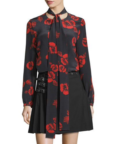 Floral Silk Satin Tie-Neck Blouse, Black/Red