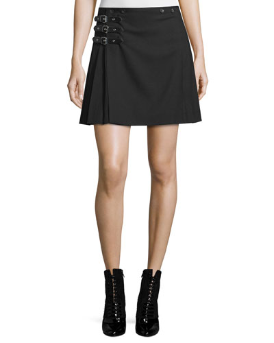 Buckled Pleated A-Line Skirt, Black