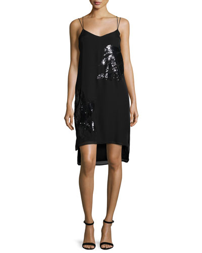 Sequined Slip Dress, Black