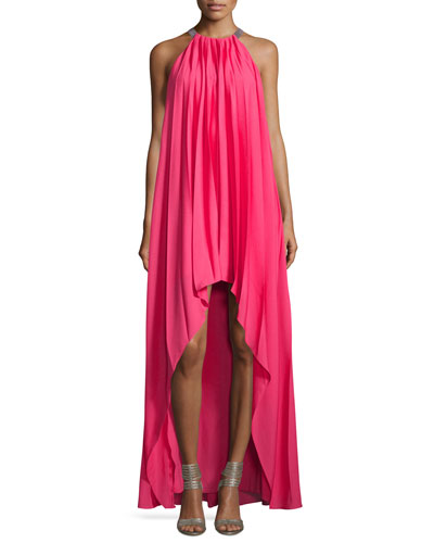 Sleeveless Pleated Chiffon Gown, Begonia