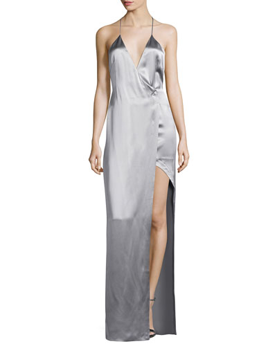 Satin Racerback Column Gown, Gray