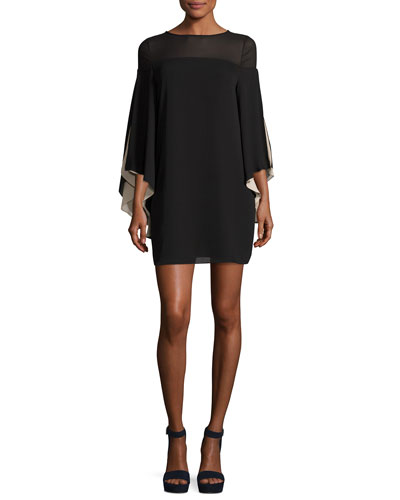 Cape-Sleeve Shift Dress, Black/Champagne