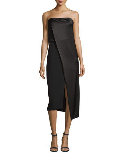 Strapless Draped Satin Cocktail Dress, Black