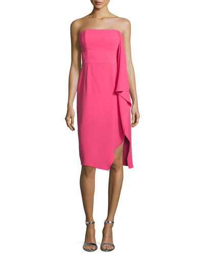 Strapless Asymmetric Draped Cocktail Dress, Begonia