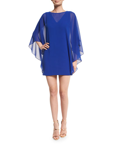 Chiffon-Overlay Shift Dress, Royal