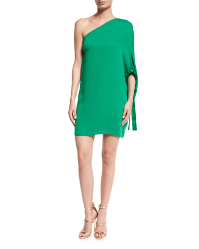 One-Shoulder Crepe Mini Dress, Emerald