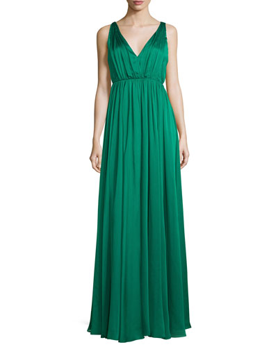 Sleeveless Shirred Chiffon-Overlay Gown, Emerald