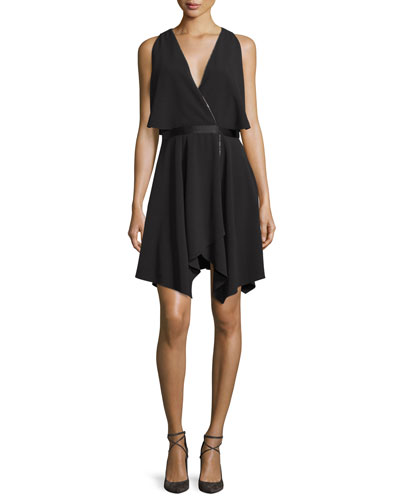 Cold-Shoulder Cocktail Dress, Black