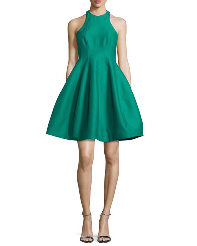 Sleeveless Structured Faille Tulip Dress, Emerald