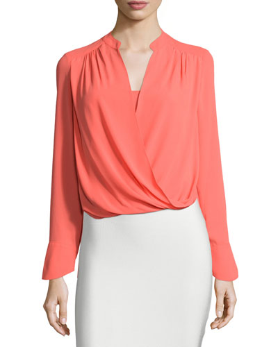 Jaklyn Long-Sleeve Draped Top, Ambrosia
