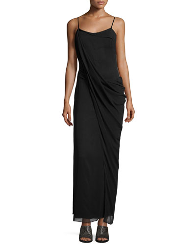 Irina Sleeveless Stretch Chiffon Maxi Dress, Black