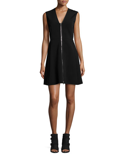 Sharon Sleeveless Zip-Front Jersey Dress, Black