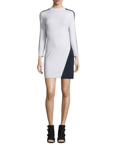 Cecilee Long-Sleeve Colorblock Sheath Dress, Ivory