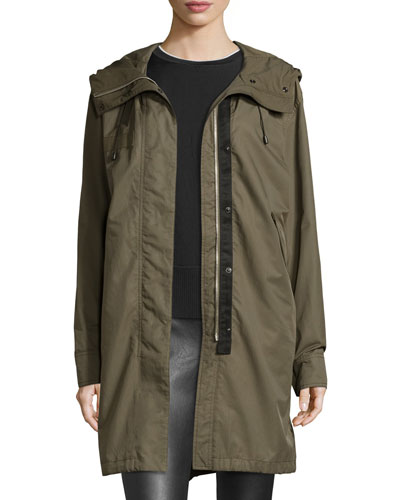 Bullett Layered Hooded Parka, Army Green