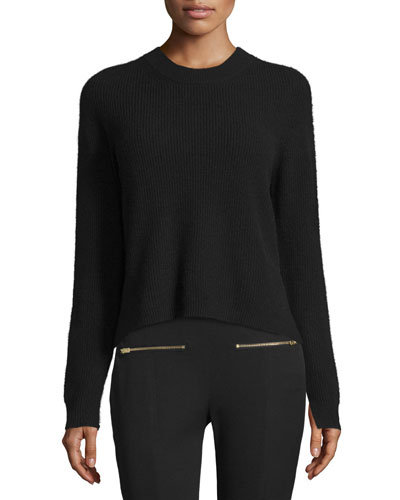Valentina Cropped Ribbed Cashmere Sweater, Black