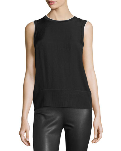 Abby Piped Crepe Tank, Black