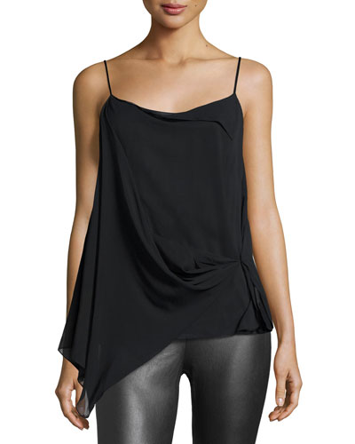 Irina Draped Stretch Silk Tank, Black