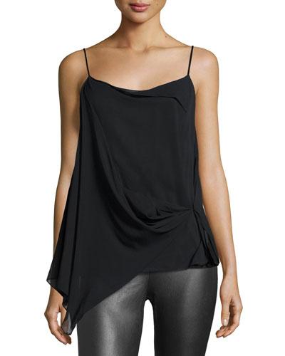 Irina Draped Stretch Silk Tank, Black