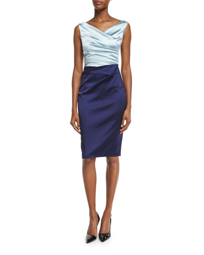 Colly Colorblock Ruched Cocktail Dress, Azur/Majestic