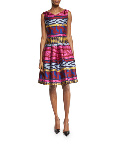 Goma Tribal-Print Fit-&-Flare Dress, Pink/Multi