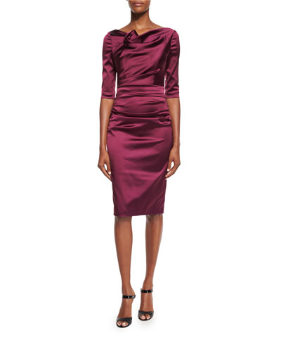 Gosling 3/4-Sleeve Ruched Satin Dress, Burgundy