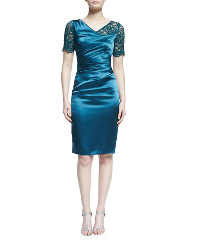 Ruched Lace-Trim Sheath Dress, Galapagos