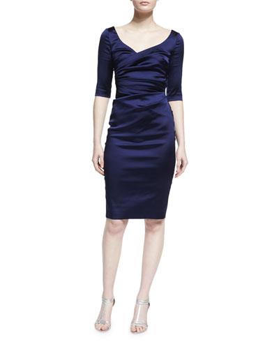 Ruched Half-Sleeve Sheath Dress, Majestic