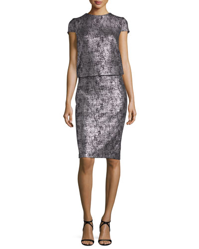Lochar Short-Sleeve Metallic Cocktail Dress, Silver