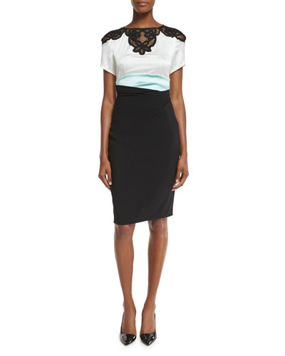 Lomasi Lace-Inset Colorblock Dress, Black