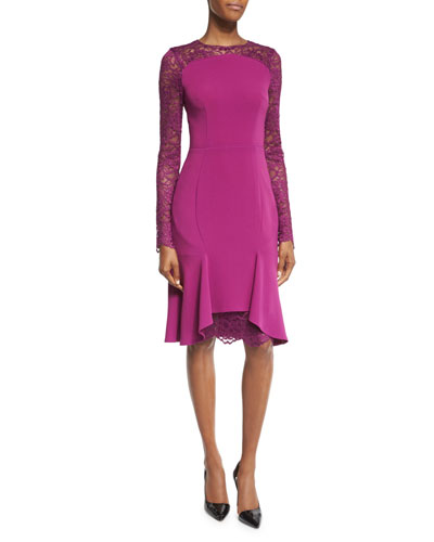 Losada Lace-Inset Flounce-Hem Dress, Byzantine